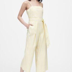 NEW BANANA REPUBLIC Womens Linen Cotton Stretch Cropped Jumpsuit Yellow Stripe 6