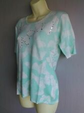 Fine Knit Minty Pastel Green Top With Sparkling Butterflies Size 10-12 NEW