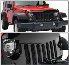 2007 2017 Jeep Wrangler JK Angry Bird Glossy Black Front W/Mesh Hood Grille Grid