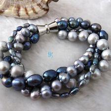 "8"" 4-10mm 4Row Silver Dark Gray Peacock Freshwater Pearl Bracelet Strand Jewelry"