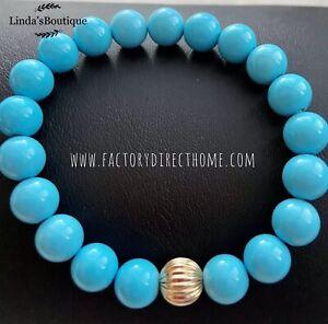 Natural Sleeping Beauty Turquoise Round Bead Bracelet