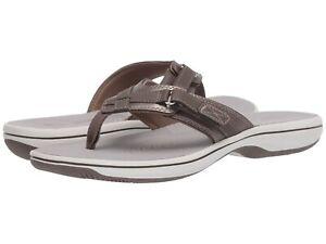 Women's Shoes Clarks BREEZE SEA Casual Flip Flop Sandals 26463 PEWTER