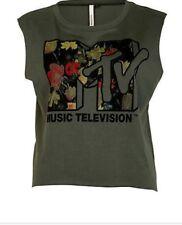 Womens  New Riverisland Cropped Sleeveless Dark Green T-Shirt MTV Logo Size 10