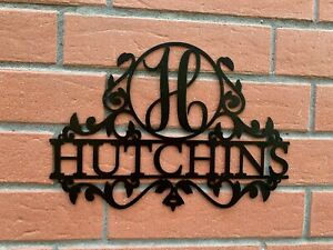 Personalized Last Name Metal Sign Outdoor Use Monogram Initial Housewarming Gift