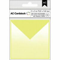 """American Crafts 10 Piece Cardmaking Mini Cards and Envelopes, 3"""" x 3"""", Lime"""