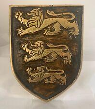 Hot Cast Bronze 3 Lion Decorative Plaque Richard Lionheart Shield Rustic Antique