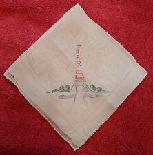 Vtg-Ant Au Printemps Paris Souvenir Hankie Ladies Handkerchief
