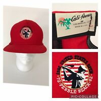 Vintage Pebble Beach 1992 Leather Strap Back Red Hat Golf Cap Made In USA