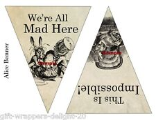 Alice In Wonderland 12x DIY Bunting Banner Flags - Smaller Size-210gsm Cardstock