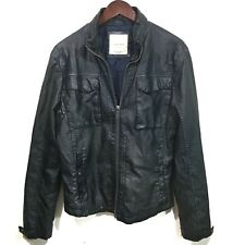 ZARA MAN Motorcycle Faux Leather Dark Blue Biker Jacket Blue Stitching, Men's XL