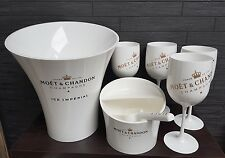 MOET CHANDON ICE IMPERIAL ice bucket, ice cube tray, mint shelf, scoop,4 goblets