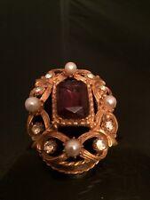 Amazing! Vintage Florenza Gold Gild w Purple Stone & Faux Pearl Trinket Box