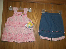 Girls Size 24M Picture Me Pink Flowered 2 Piece Top Pants Calico Ruffle Denim