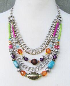 Lia Sophia Jewelry Multi-Color Necklace in Silver
