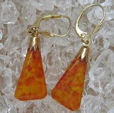 ✨Antique✨ Bernstein Ohrringe in aus 585 Gold mit Bernsteine Antik Amber Earrings
