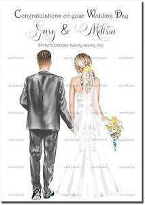 Handmade Personalised Wedding Card Congratulations Marriage Bride Groom