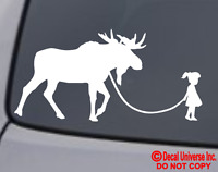 GIRL WALKING A MOOSE Vinyl Decal Sticker Car Window Wall Bumper Funny Pet Cute