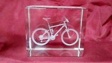 Vidrio de borde biselado 3D Láser Bloque Pisapapeles: Bicicleta de montaña
