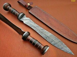 ROMAN GLADIUS HISTORICAL CUSTOM MADE DAMASCUS STEEL BLADE, DAGGER WARIOR SWORD