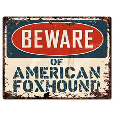 Ppdg0173 Beware of American Foxhound Plate Rustic Tin Chic Decor Sign