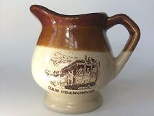 Vintage San Francisco Cable Car Souvenir Creamer Small Pitcher Tan Brown Ceramic