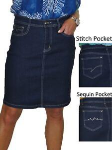 ICE Stretch Denim Above Knee Jeans Skirt Indigo Blue 8-20