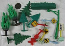 Lot of Vintage 1960's Soft & Hard Plastic HO Trees & Signs