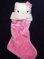 """Hello Kitty Pink Christmas Stocking Plush 20"""" Sanrio White Holiday"""