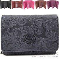 Ladies / Womens Handy Genuine Leather Vintage Floral Purse / Money Holder