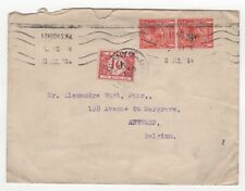 1920 GB KGV Postage Due Cover LONDON to ANTWERP BELGIUM 2d SGD197 Pair