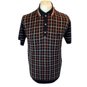 Gabicci Vintage V44GM01 Chrono Knitted Polo Shirt Navy,Mod,60s,70s,Retro,SALE
