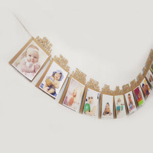 12 Months Photo Frame Banner Baby Shower Baby Boy Girl First Year Party Supplies