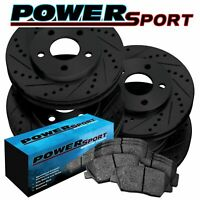 Brake Rotors [Front+Rear Kit]POWERSPORT BLACK *DRILL/SLOT* +CERAMIC PADS BZ17732