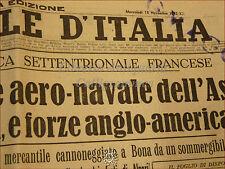 IL GIORNALE D'ITALIA 18 novembre 1942 fascismo WWII Asse Sommergibili Tunisia