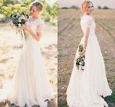New Modest Long White Ivory Wedding Dress Bridal Gown Custom Size 2 4 6 8 10 12