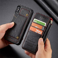For iPhone X 6 7 XS Max Removable Card Wallet Flip Leather Stand Case Skin Cover