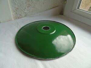 French antique vintage c.1940  green porcelain enamel light shade