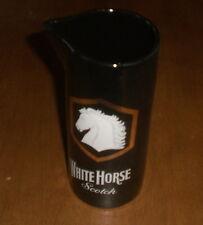 WHITE HORSE SCOTCH WHISKY BLACK CERAMIC WATER PITCHER - VINTAGE