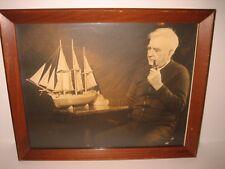 VINTAGE STEAM SHIP CAPTAIN EVANS LAKE MICHIGAN ST. JOE PORTRAIT WALL HANGING