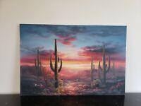 Amazing Southwestern Listed Artist Bernard Duggan Arizona Sunset Desert Painting