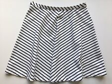 Lands End Womens White Navy Striped Knit Skirt Size L 14-16 Nautical Knee Length