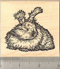 English Angora Rabbit Rubber Stamp, Detailed Longhaired Bunny Stamper L6107 WM