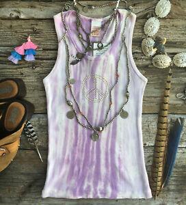 Purple Peace Sign Tie Dye Tank Top White Gold Stud Festival Hippie Groovy Retro