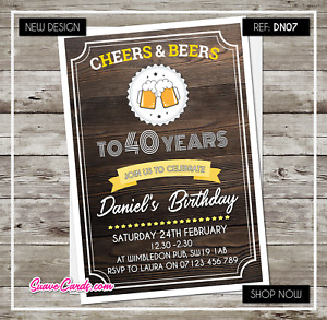 40th Birthday Party Invitations Personalised any age 21st 30th 50th 60th Beer