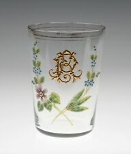 Antique Victorian/Edwardian Glass Tumbler With Hand Painted Enamel Flowers