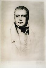 "RICHARD GEORGE MATHEWS CANADIAN ETCHING ""SIR WALTER SCOTT"" C 1910"