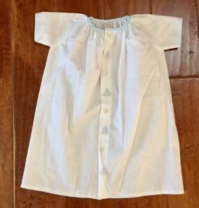 Auraluz 0-3 M Hand Embroidered Day Gown Sailboats Stitched NEW