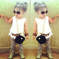 Free Shipping Kids Baby Girls T-shirt Pants Dress Summer Outfit Clothes Set 1-9Y