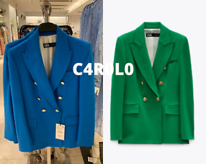 ZARA WOMAN GREEN OR BLUISH TAILORED DOUBLE BREASTED BLAZER ALL SIZES R.2898/646