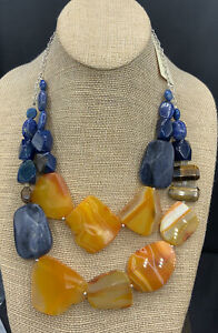 Barse Sunup SunDown Necklace- Mixed Stones- Sterling Silver- NWT